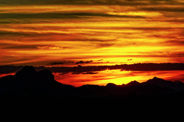 Photograph - Mountain Sunset Silhouette H1801 by Mark Myhaver