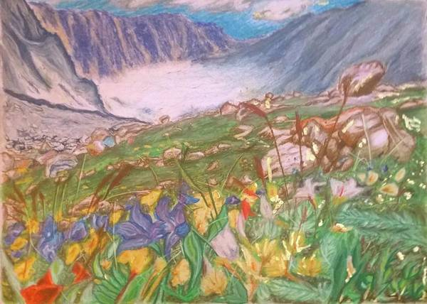 Wall Art - Pastel - Mountain View by Agnes V