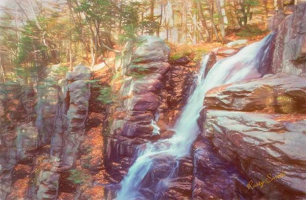 Digital Art - Mountain Waterfall,white Mountains New Hampshire by Rusty R Smith