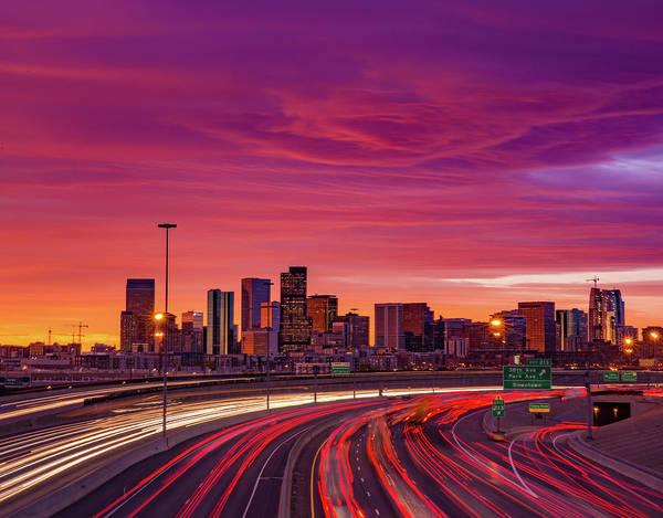 Mile High City Photograph - Mountain Wave Cloud Sunrise Over I-25 by Bridget Calip