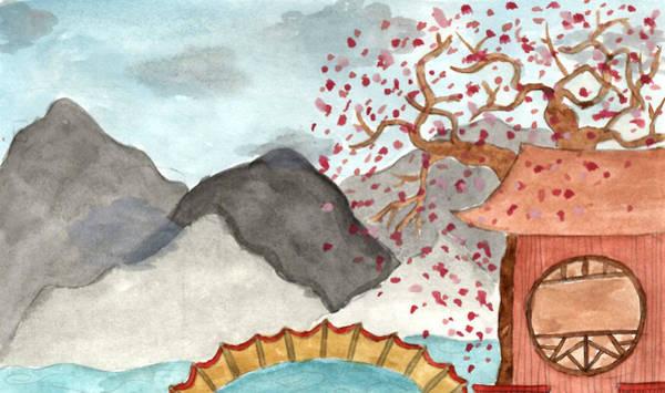 Inking Painting - Mountain Zen by Sindy Original