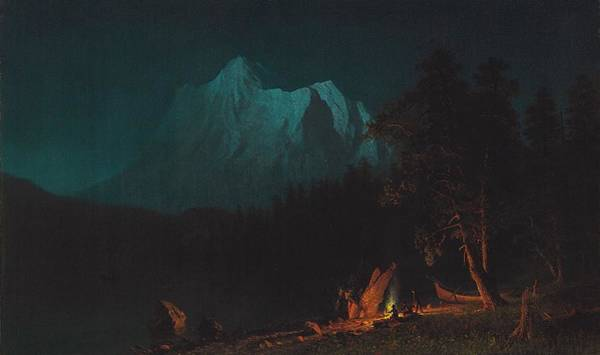 Bonfire Wall Art - Painting - Mountainous Landscape By Moonlight by Albert Bierstadt