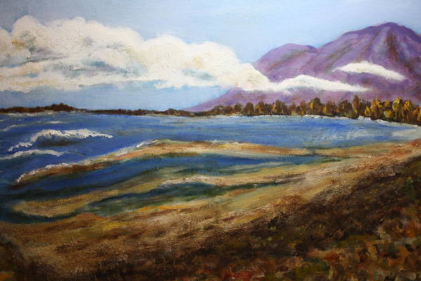 Wall Art - Painting - Mountains And Bay by Michael L Brown
