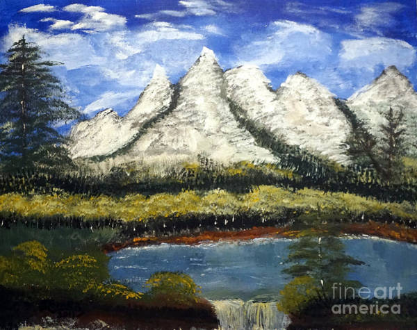 Mountains And Evergreens Art Print