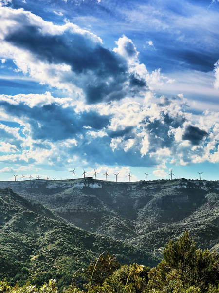 Photograph - Mountains And Windmills Under Dramatic Sky In Spain by Fine Art Photography Prints By Eduardo Accorinti