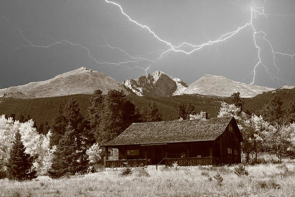 Photograph - Mountains Cabin - Lightning - Longs Peak by James BO Insogna