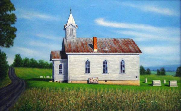 Church Yard Painting - Mountain View Church by Charles Hill