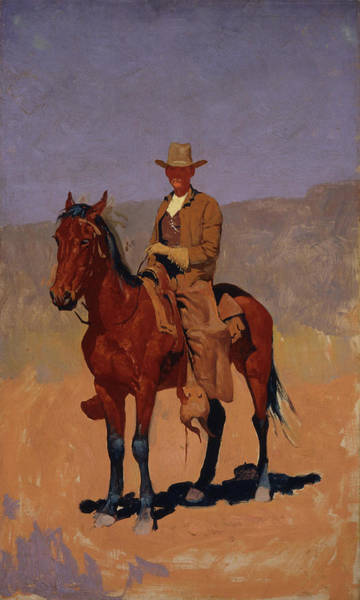 West Bay Painting - Mounted Cowboy In Chaps With Bay Horse by Frederic Remington