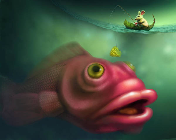 Ugly Digital Art - Mouse Fishing by Vanessa Bates