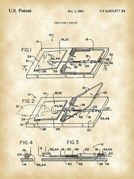 Conn Wall Art - Digital Art - Mouse Trap Patent - Vintage by Stephen Younts