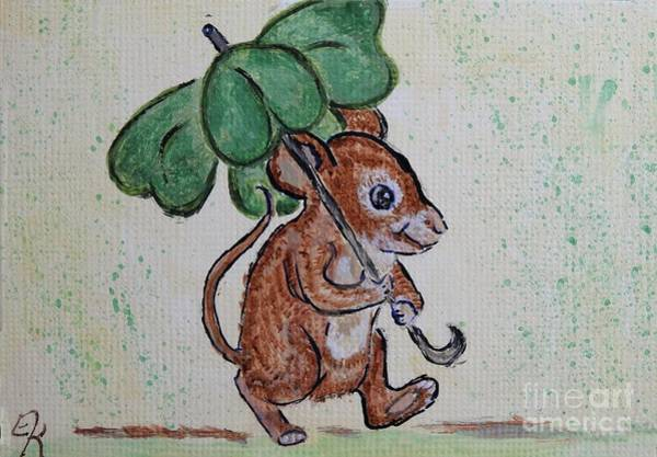 Lucky Clover Painting - Mouse With Four Leaf Clover Umbrella Painting #893 by Ella Kaye Dickey