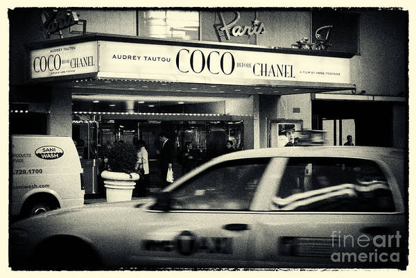 Yellow Taxi Photograph - Movie Theatre Paris In New York City by Sabine Jacobs