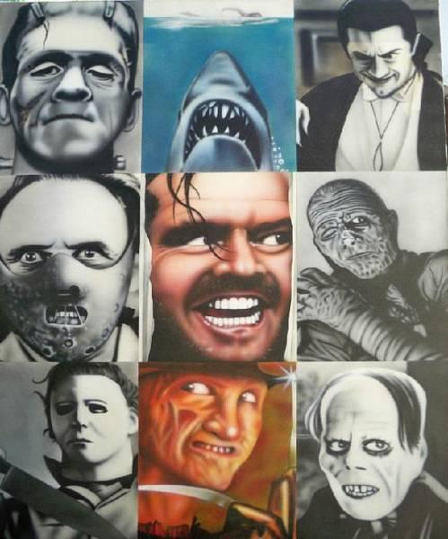 Nightmare On Elm Street Painting - Movie Villians by Brett Sauce