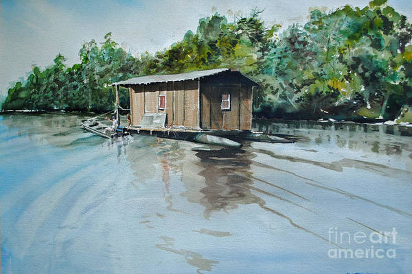 Waterway Painting - Moving Home by P Anthony Visco