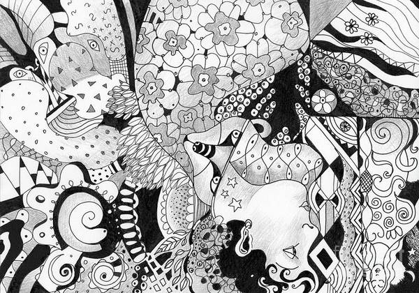 Organic Abstraction Drawing - Moving In Circles - The Other Way Around by Helena Tiainen