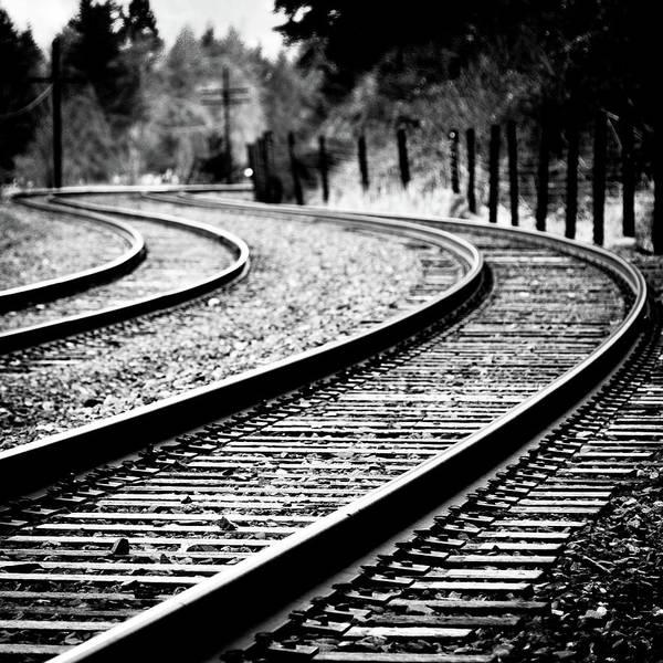 Train Track Photograph - Moving On by Brian Bonham