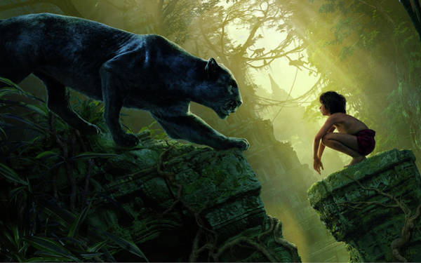 Wall Art - Digital Art - Mowgli Bagheera Black Panther The Jungle Book by Mery Moon