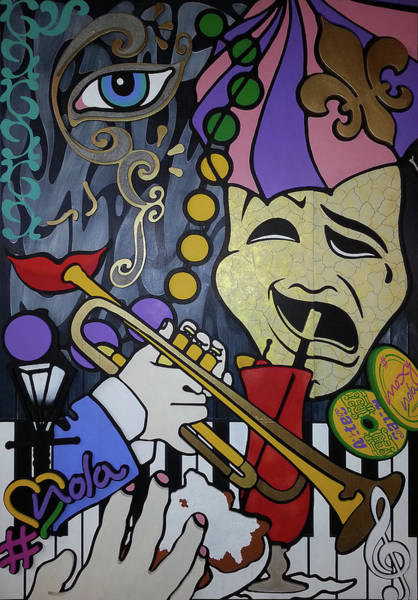 Trumpet Mixed Media - #moxyluvnola by Guadalupe Herrera