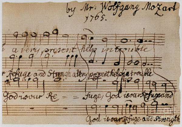 Manuscript Wall Art - Photograph - Mozart: Motet Manuscript by Granger
