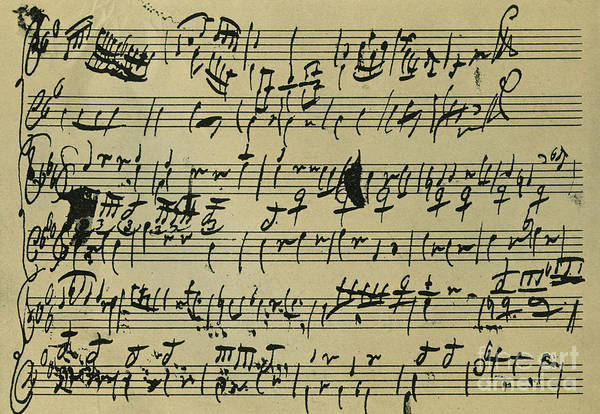 Wall Art - Drawing - Mozart Score Written When 8 Years Old by Wolfgang Amadeus Mozart
