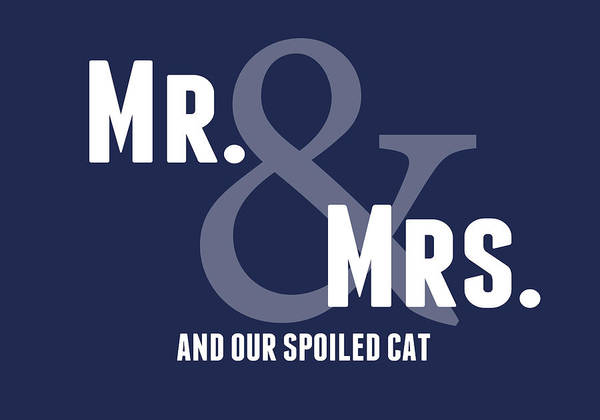 Wedding Gift Wall Art - Digital Art - Mr And Mrs And Cat by Linda Woods