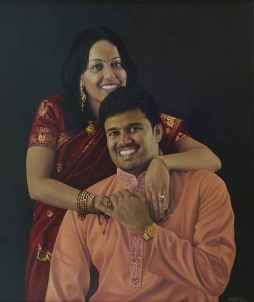 Wall Art - Painting - Mr And Mrs Arunachalam by Marcel Franquelin