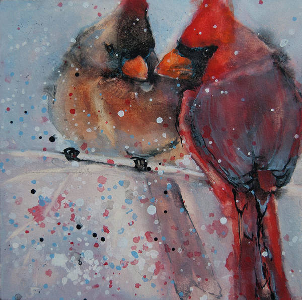 Snuggle Painting - Mr. And Mrs. Cardinal by Jani Freimann