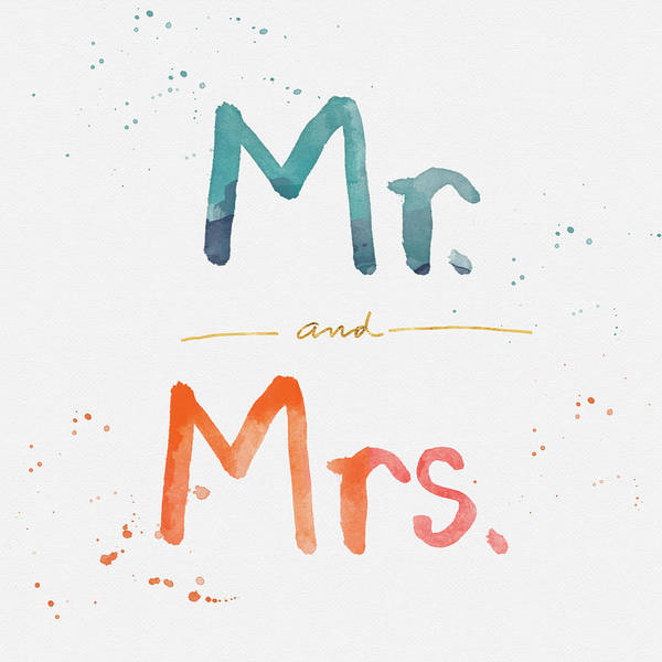 Wedding Painting - Mr And Mrs by Linda Woods