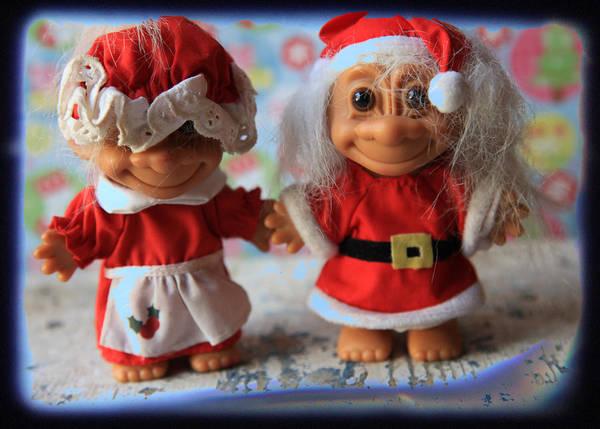 Troll Photograph - Mr And Mrs Santa Troll by Toni Hopper