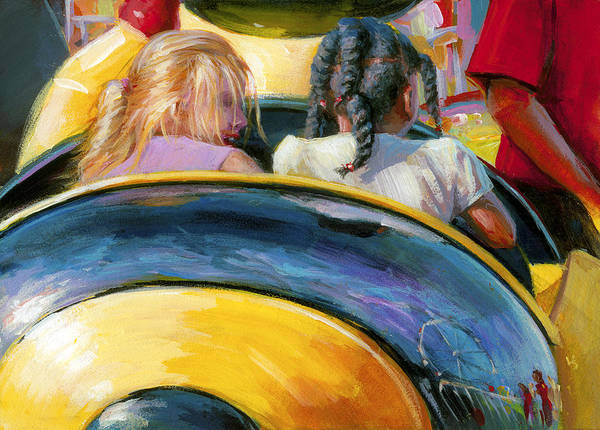 Painting -  	Mr. Bee Takes Some Friends For A Ride by Lesley Spanos
