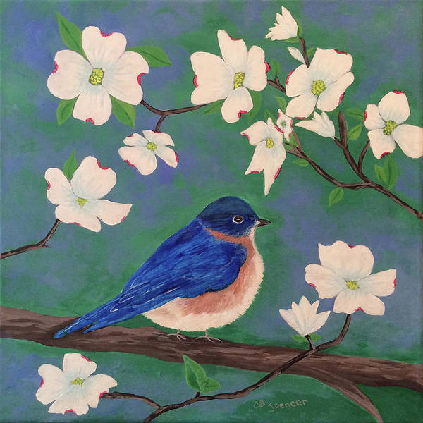 Eastern Bluebird Painting - Mr. Blue by Connie Spencer