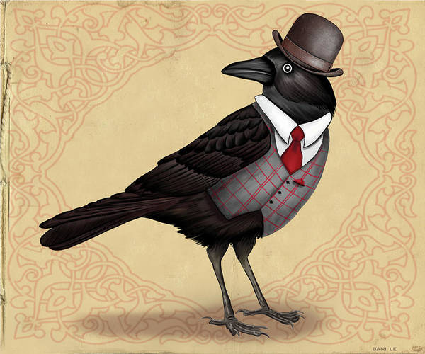Wall Art - Painting - Mr. Crow On Payday by Little Bunny Sunshine