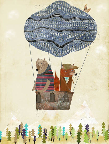 Hot Air Balloon Wall Art - Painting - Mr Fox And Bears Adventure  by Bri Buckley
