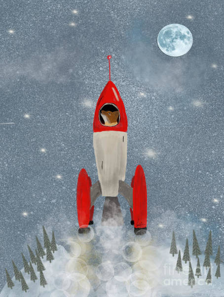 Dreamy Wall Art - Painting - Mr Fox Goes To The Moon by Bri Buckley
