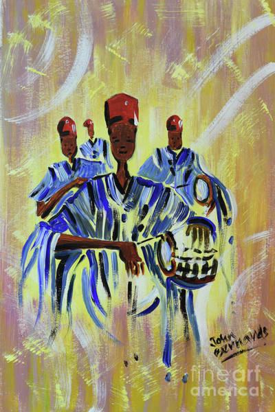 Nigeria Painting - Nigerian Drummer Boys by John Bernards