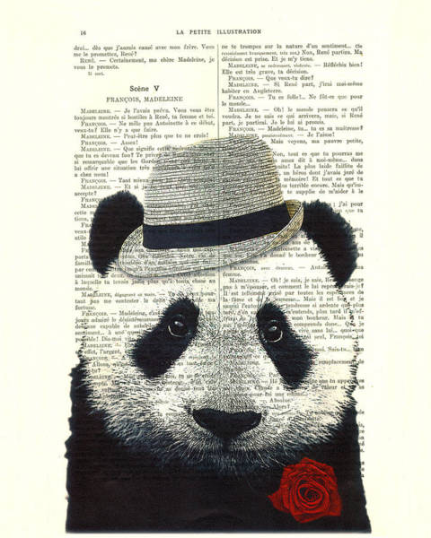 Animals In Clothes Wall Art - Digital Art - Panda With Fedora Hat En Red Rose by Madame Memento