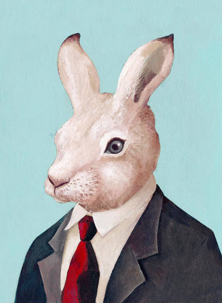 Animals In Clothes Wall Art - Painting - Mr Rabbit by Animal Crew