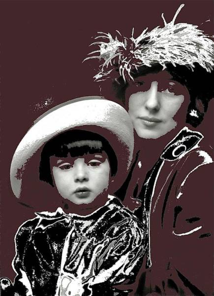 Photograph - Mrs Evelyn Nesbit And Son  Russell William Thaw Arnold Genthe Photo New York 1913 Color Added 2015 by David Lee Guss