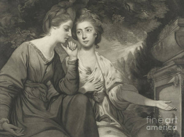 Georgian Drawing - Mrs Harriet Bouverie And Mrs Frances Ann Crewe by Joshua Reynolds