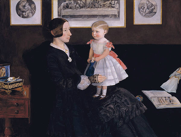 Pre-raphaelite Brotherhood Painting - Mrs James Wyatt Jr And Her Daughter Sarah  by John Everett Millais