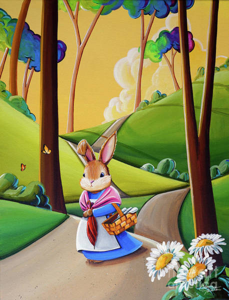 Wall Art - Painting - Mrs. Rabbit Heads Out by Cindy Thornton
