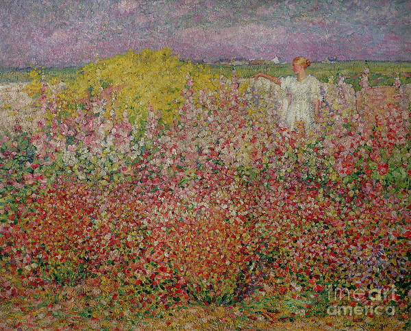 Mrs Wall Art - Painting - Mrs Russell Amongst The Flowers At Belle Isle by John Peter Russell