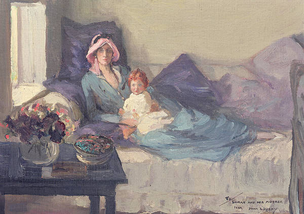 Wall Art - Painting - Mrs Winston Churchill With Her Daughter Sarah by Sir John Lavery