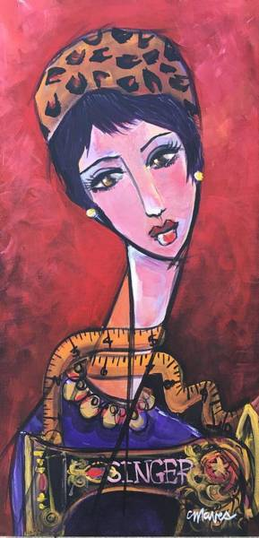 Painting - Ms. Bimba Fashionable Seamstress by Laurie Maves ART