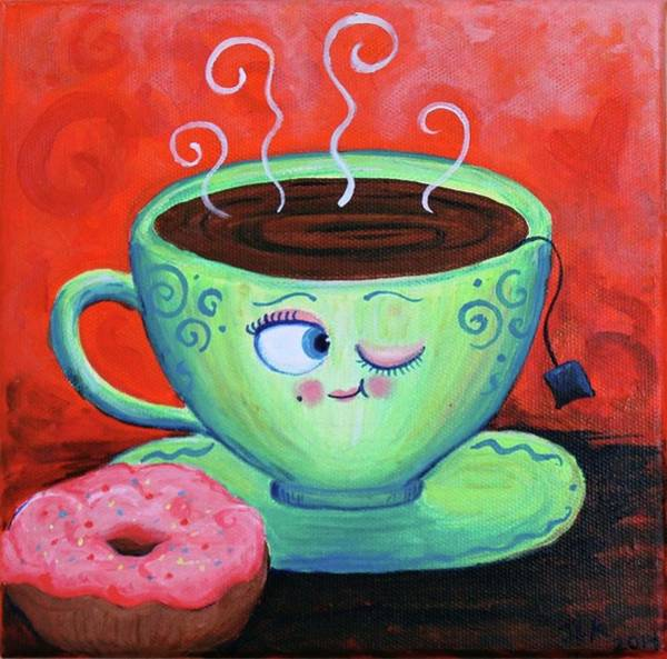 Doughnut Painting - Ms Tea by Jennifer Alvarez