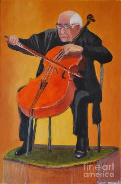 Cellist Painting - Mstislav Leopoldovich Rostropovich by Kostas Koutsoukanidis