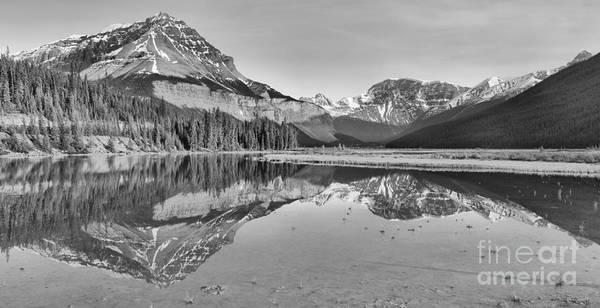 Photograph - Mt Chephren Golden Reflections Crop Black And White by Adam Jewell