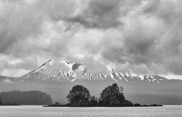 Wall Art - Photograph - Mt Edgecumbe Alaska Black And White by SharaLee Art