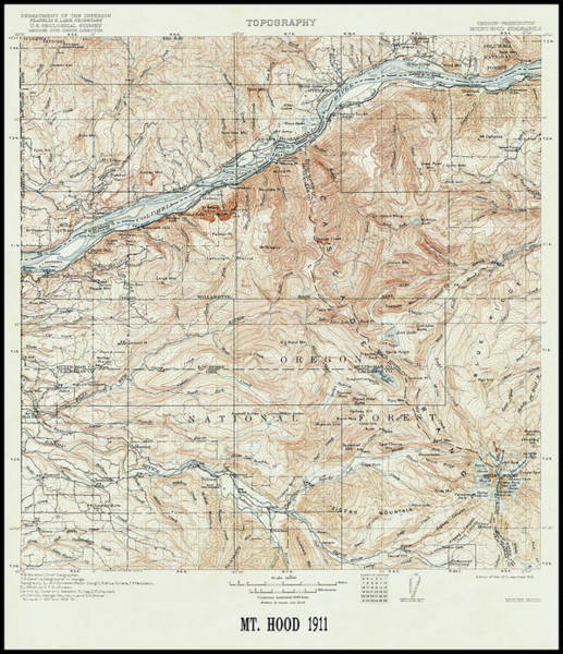 Wall Art - Photograph - Mt. Hood And Environs Topographic Map  1911 by Daniel Hagerman