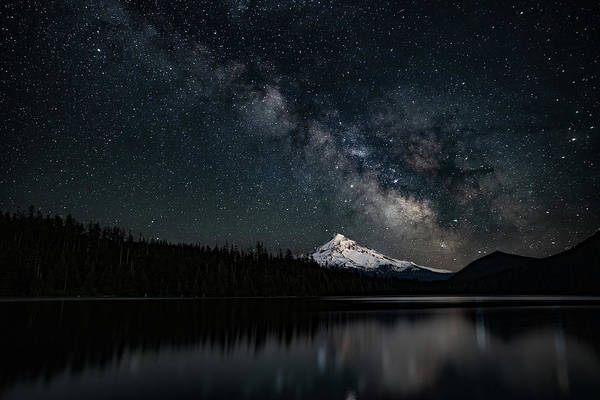 Photograph - Mt. Hood And The Milky Way by Ken Dietz